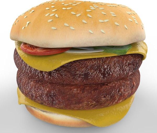 hamburger ham double 3d model