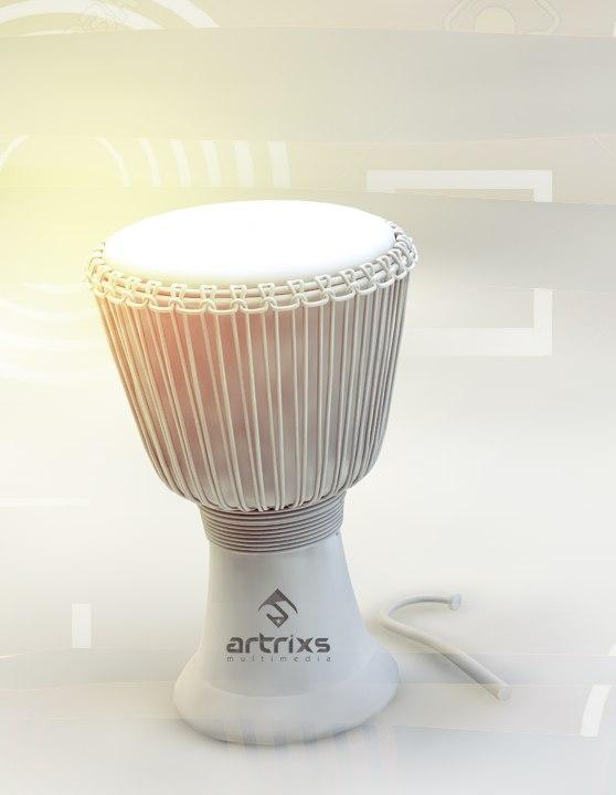 african djembe drum africa 3d model