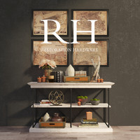 PARISIAN CORNICE CONSOLE and DECORATIVE SET  By Restoration Hardware