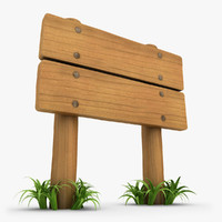 Wooden Signboard With Grass 02
