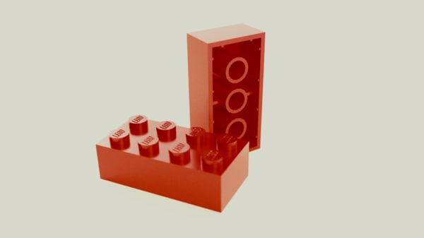 2x4 lego brick 3d 3ds
