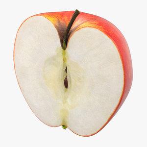 obj half red apple