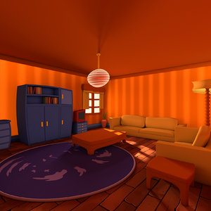 living cartoon room c4d