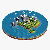 Cartoon island low poly