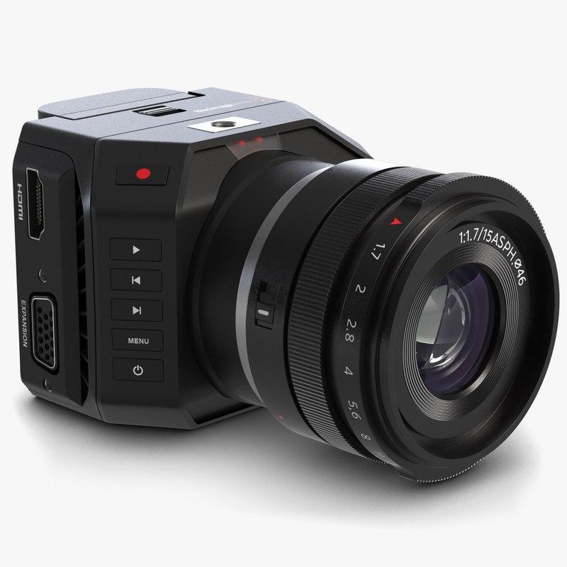 3d model blackmagic micro camera lens