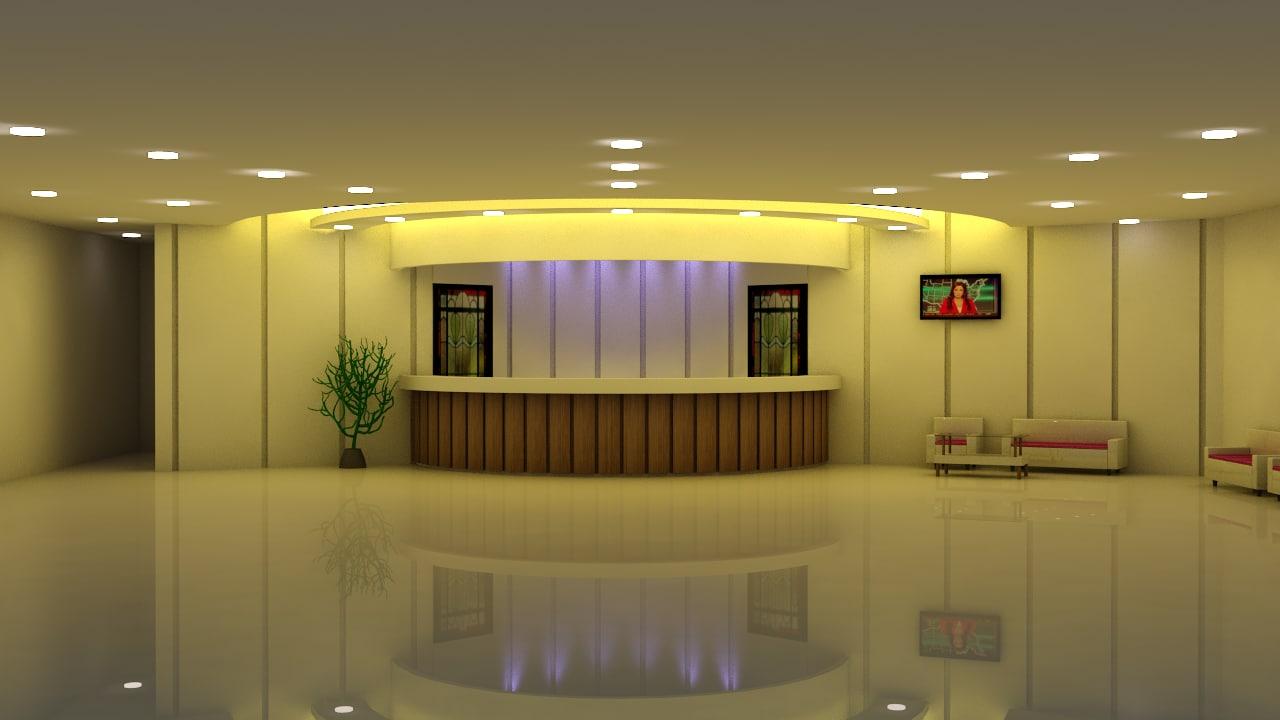 reception hall - 3d max