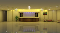 reception hall - 3d max