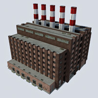Old Industrial Factory Power Plant Building - Coal Smokestacks 1