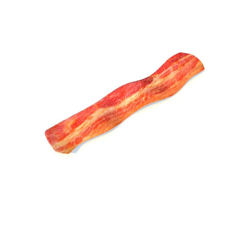 realistic fried bacon 3d model