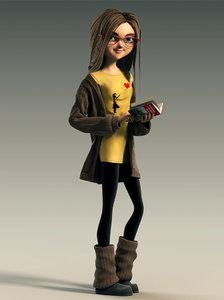 rigged cartoon girl animation 3d max