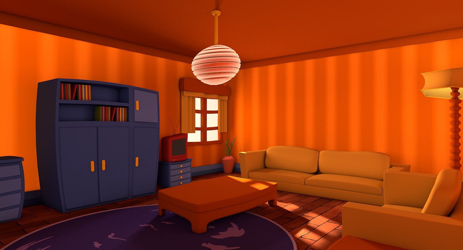 Living cartoon room c4d for Living room cinema 4d