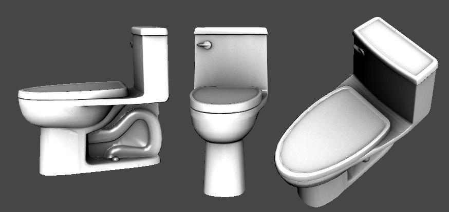 3d toilet long seat