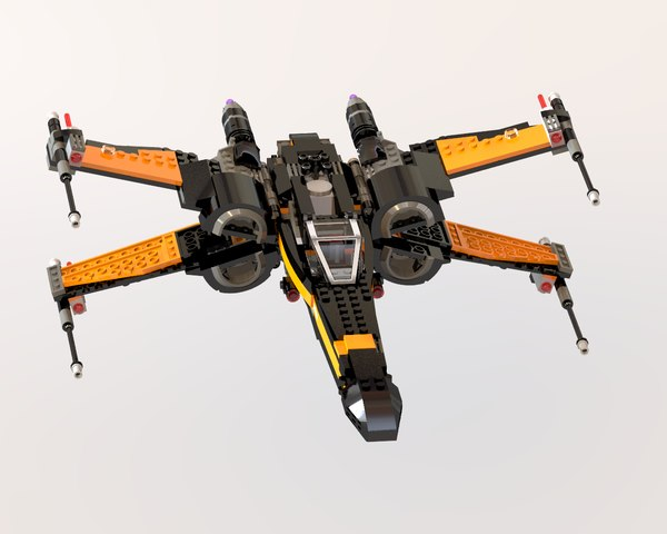 3d lego star wars poe model