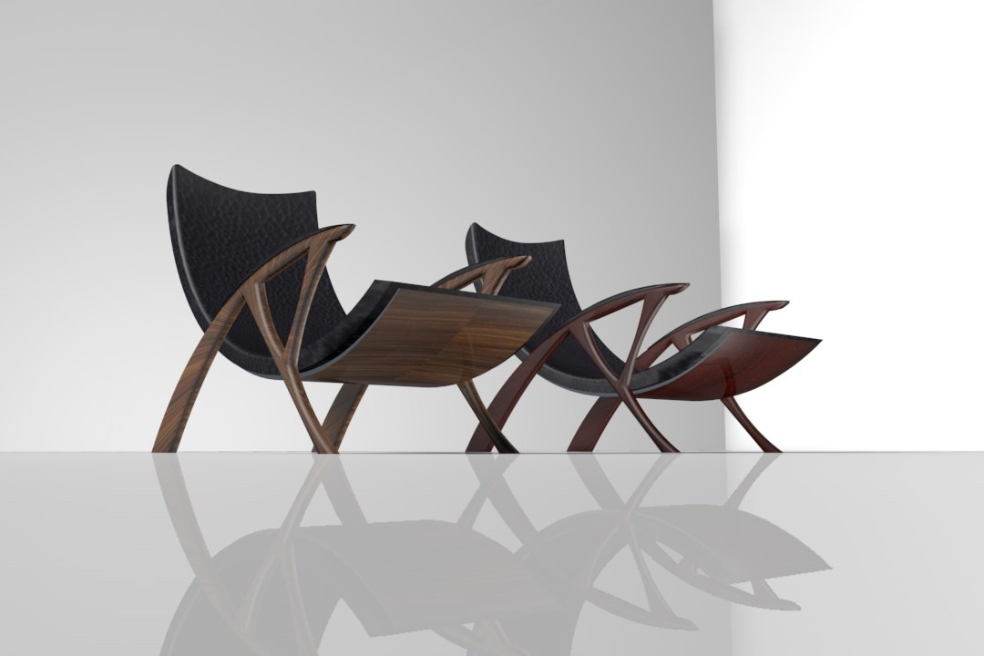 organic contemporary chair 3d model