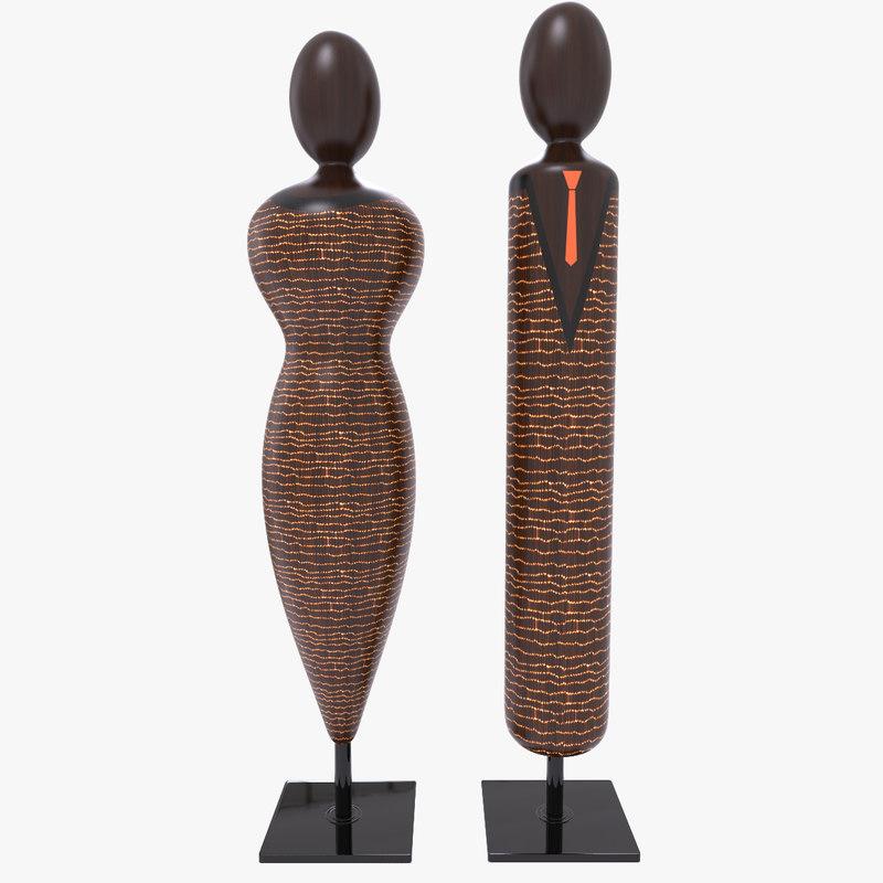 wooden statuettes wood 3d max