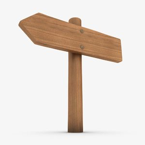 3d realistic wooden signboard 03 model