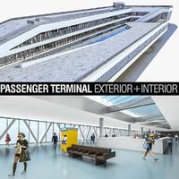 port terminal building interior 3d model