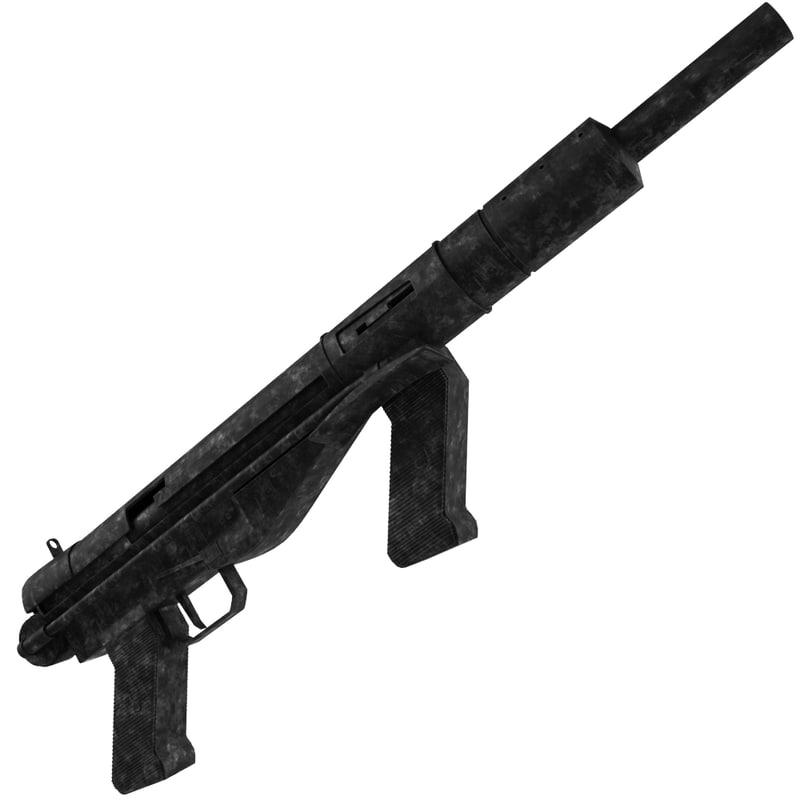 3d model submachine gun austen