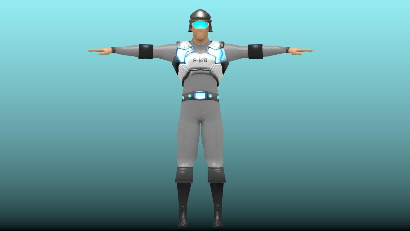 soldier sci-fi 3d blend