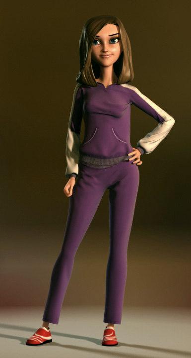 3d rigged cartoon girl animation model