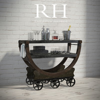 VINTAGE WALLPAPER FACTORY BAR CART and Decorative Set By Restoration Hardware
