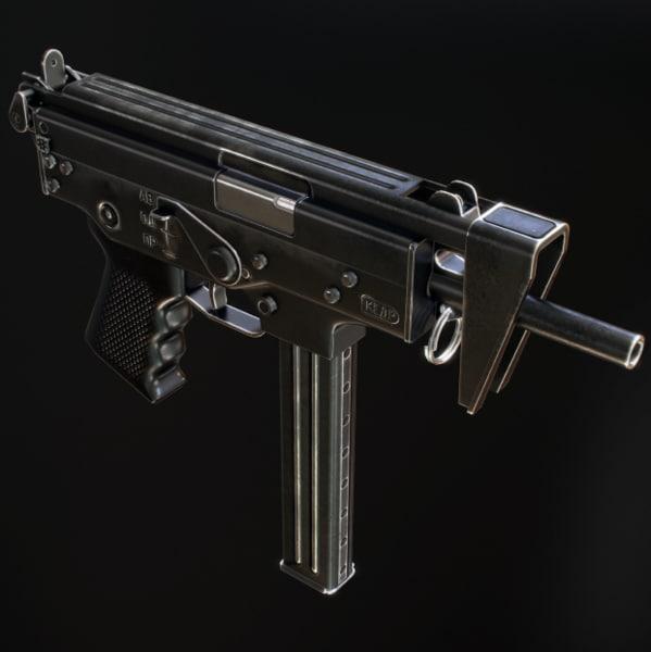 3d model of pp-91 kedr submachine gun