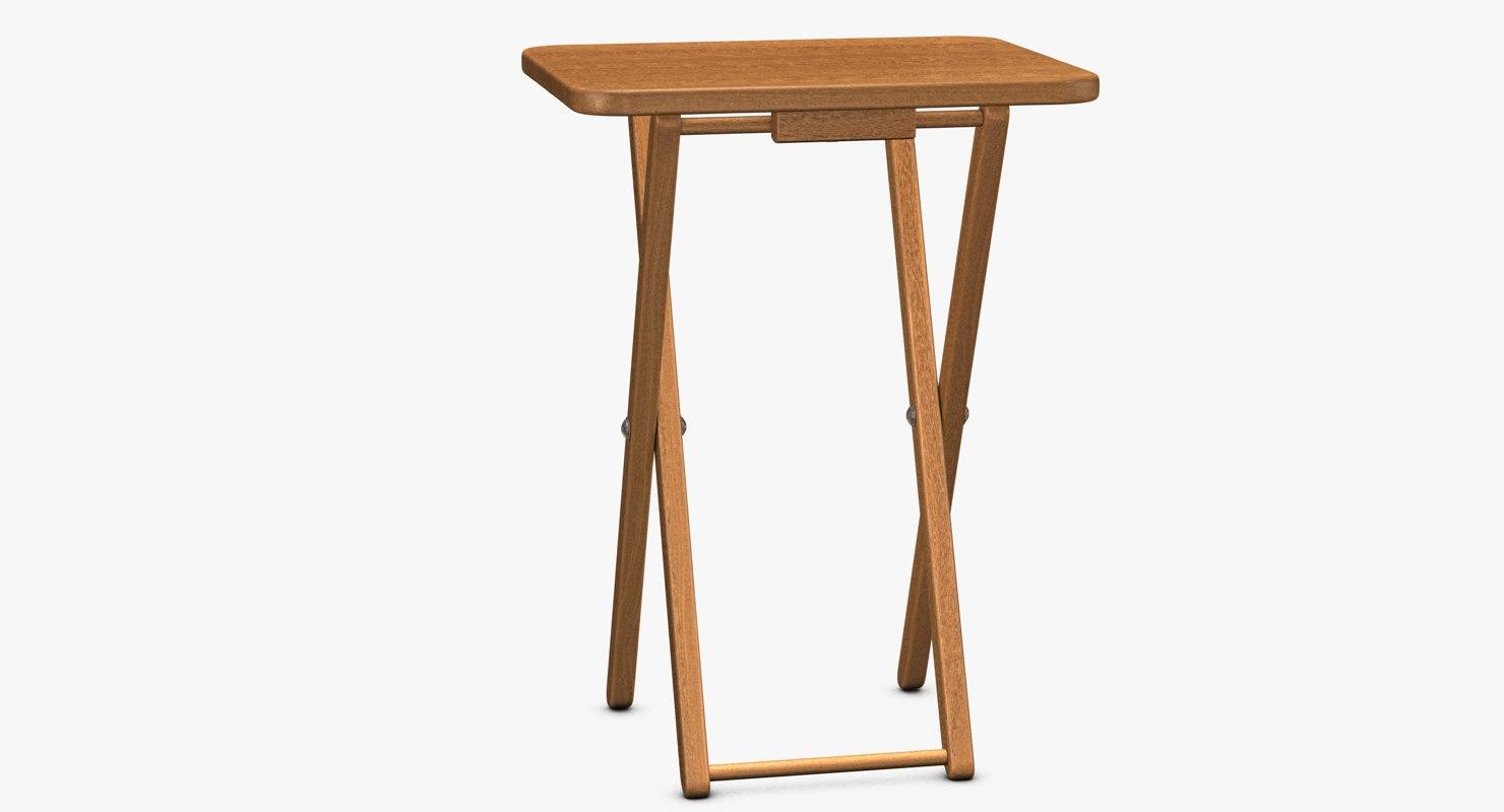 wood folding table 3d 3ds