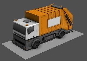 garbage truck 3d obj