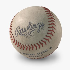 baseball rawlings old looking 3d max