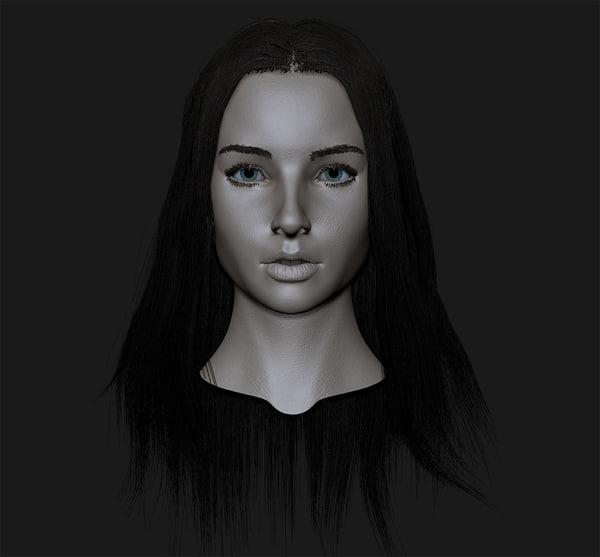 girl head cute 3d model