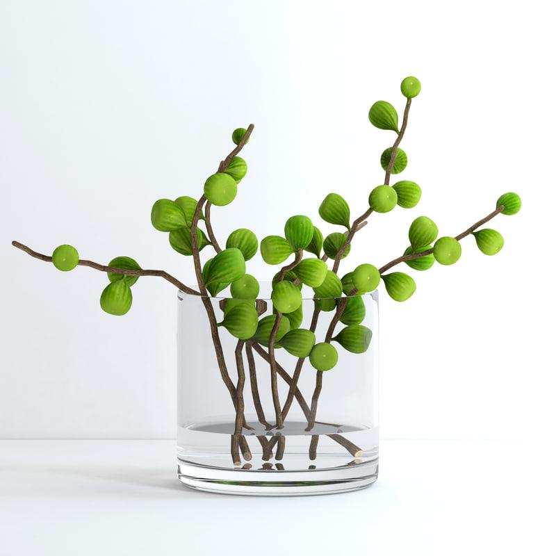 3d Model Vase Fig Branches Flowers