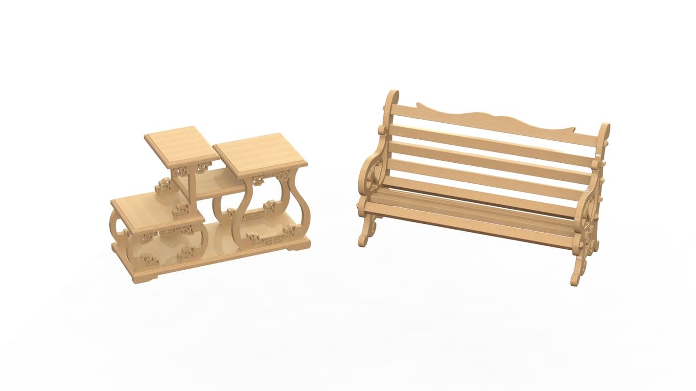 3d tea table wooden model