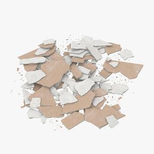 3d model of broken sheetrock 03 -