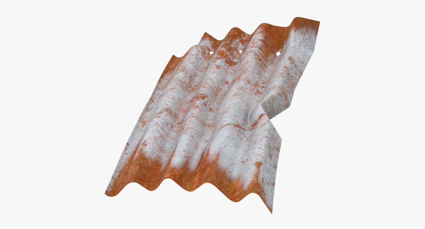 corrugated metal sheet bent 3d model