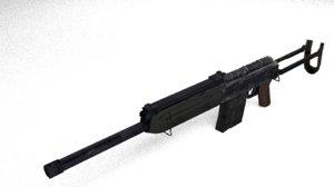 saiga 12 shotgun 3d obj