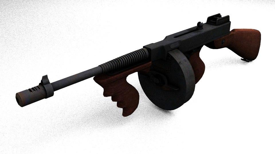 thompson gun 3d obj