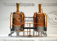 3d vrayforc4d breweries model