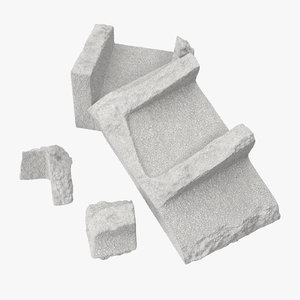 cinder blocks broken 02 3d model