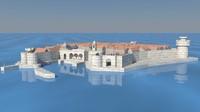 3d dubrovnik old fortress citadel model