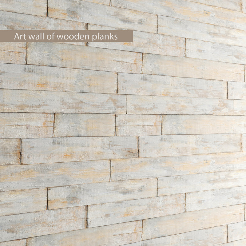 3d art wall wooden planks model