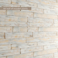 Art wall of wooden planks 3D