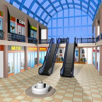 cartoon shopping mall 3d model