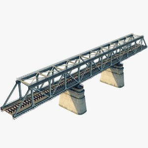 bridge railroad rail 3d model