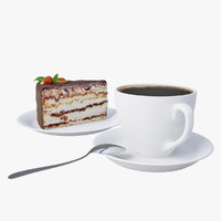 chocolate cake coffee 3d model
