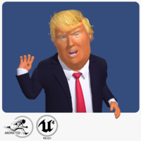 3d rigged cartoon donald trump model