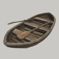 realistic medieval row boat 3d model