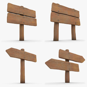 3d model realistic wooden signboard set