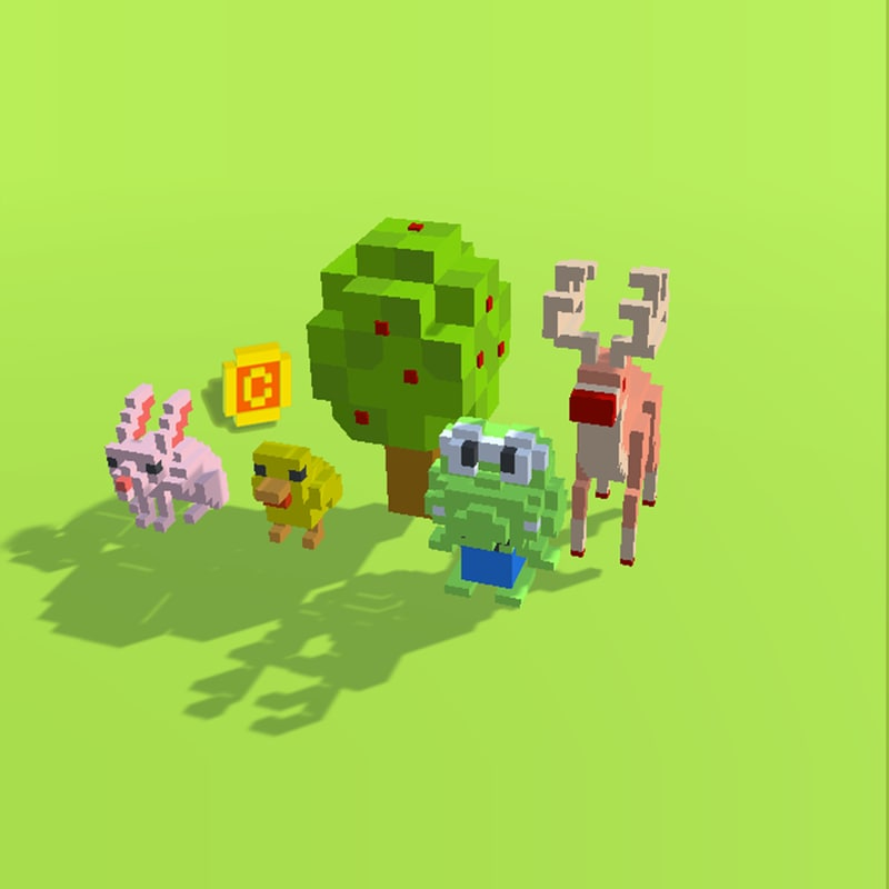 pixel animals 3d model