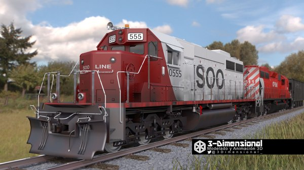 emd sd40-2 locomotive 3d model