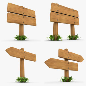realistic wooden signboard grass 3d model